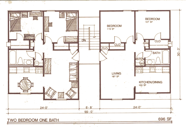 Campus square floor plan 2 bhk flat drawing
